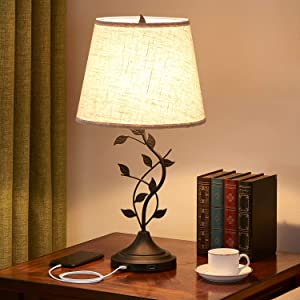 Dual USB Table Lamp, Kakanuo Traditional Bedside Lamp with USB Fast Charging Ports, Cream Drum Fabric Shade, Large Retro Table Lamp for Bedroom, Living Room, Black