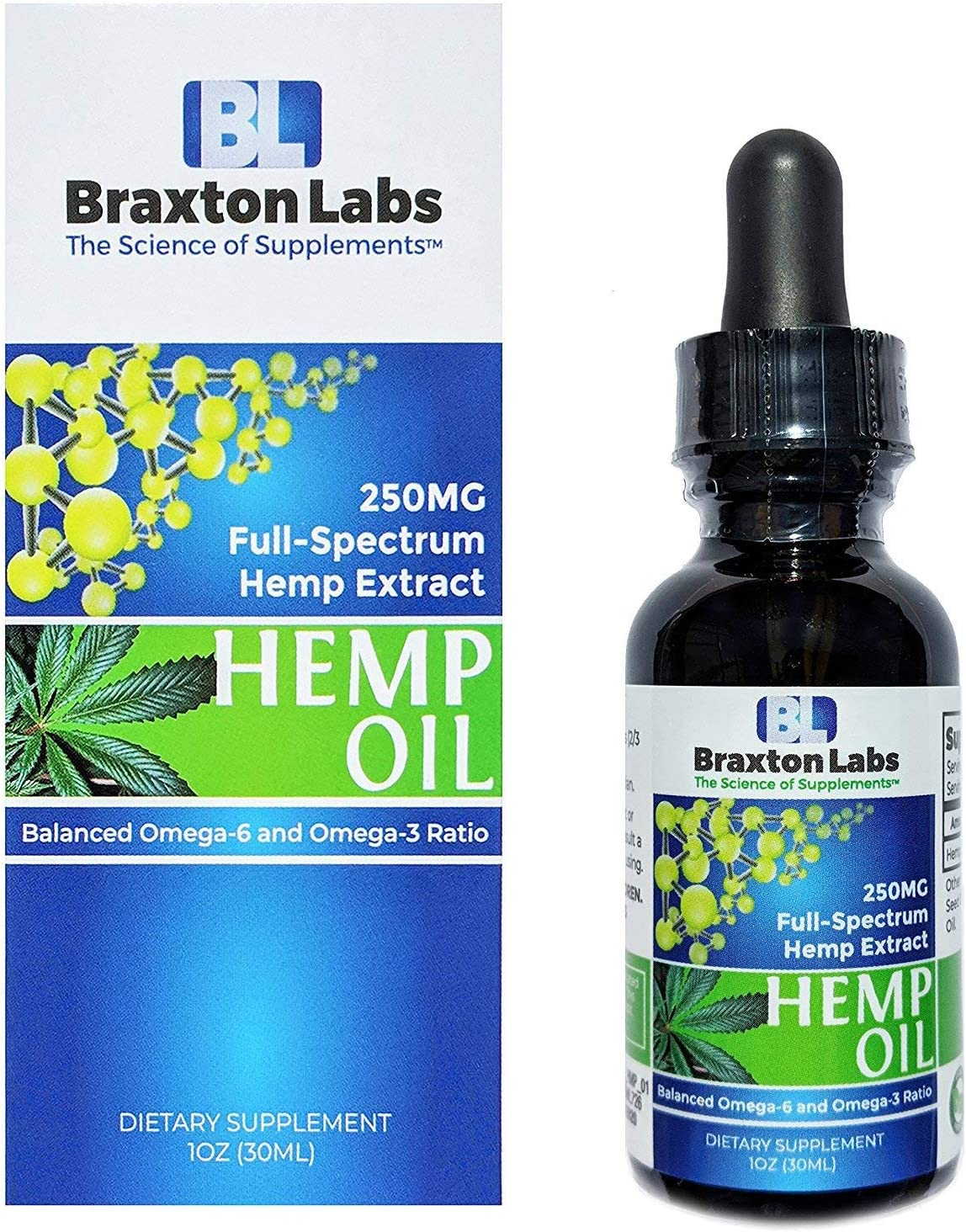 Braxton Labs Premium Hemp Oil 250MG Full-Spectrum Balanced Omega-6 Omega-3 Ratio 100% Made in The USA