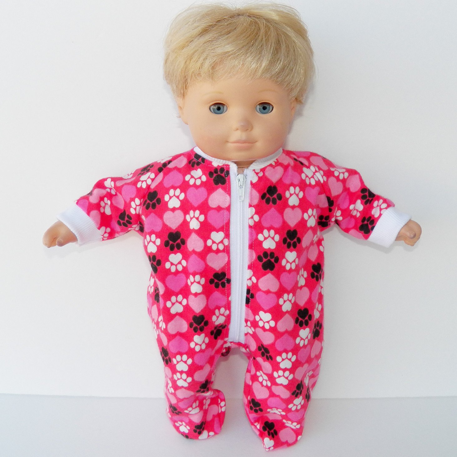 15 Inch Bitty Baby Doll Clothes Red Pink Heart Flannel Pajamas
