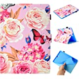 SM-T550 Case, Galaxy Tab A 9.7 2015 Case, Cookk Protective Leather Smart Wallet Case with [Auto Sleep/Wake] Stylus Pen Cute Cartoon Flip Stand Cover for Samsung Galaxy Tab A 9.7 inch, Flower Butterfly
