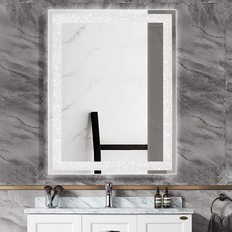 MAGGIIC Crystal Inlay UL Listed 28 x 36 Inch Horizontal/&Vertical Dimmable LED Bathroom Makeup Vanity Mirror Wall Mounted Mirror Anti-Fog+IP44 Waterproof CRI90