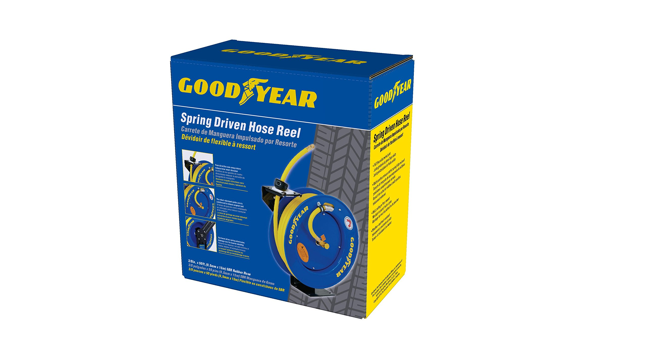 Goodyear L815153G Steel Retractable Air Compressor/Water Hose Reel with 3/8 in. x 50 ft. Rubber Hose, Max. 300PSI by Goodyear (Image #7)
