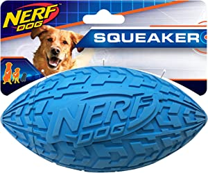 Nerf Dog Tire Football Dog Toy with Interactive Squeaker, Lightweight, Durable and Water Resistant, 6 Inch Diameter for Medium/Large Breeds, Single Unit, Blue (1571)
