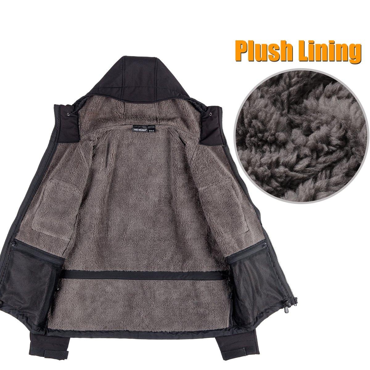 FREE SOLDIER Mens Jacket Multi-Function Softshell Tactical Jacket Plush Lined Warm Coats Hooded Jacket