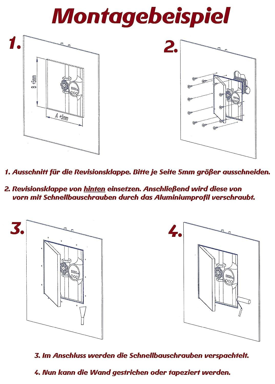 Mauerwerk Wartungsklappe Revisionsklappe Inspektionsklappe GK-Einlage Feuchtraum Gipskarton Alu