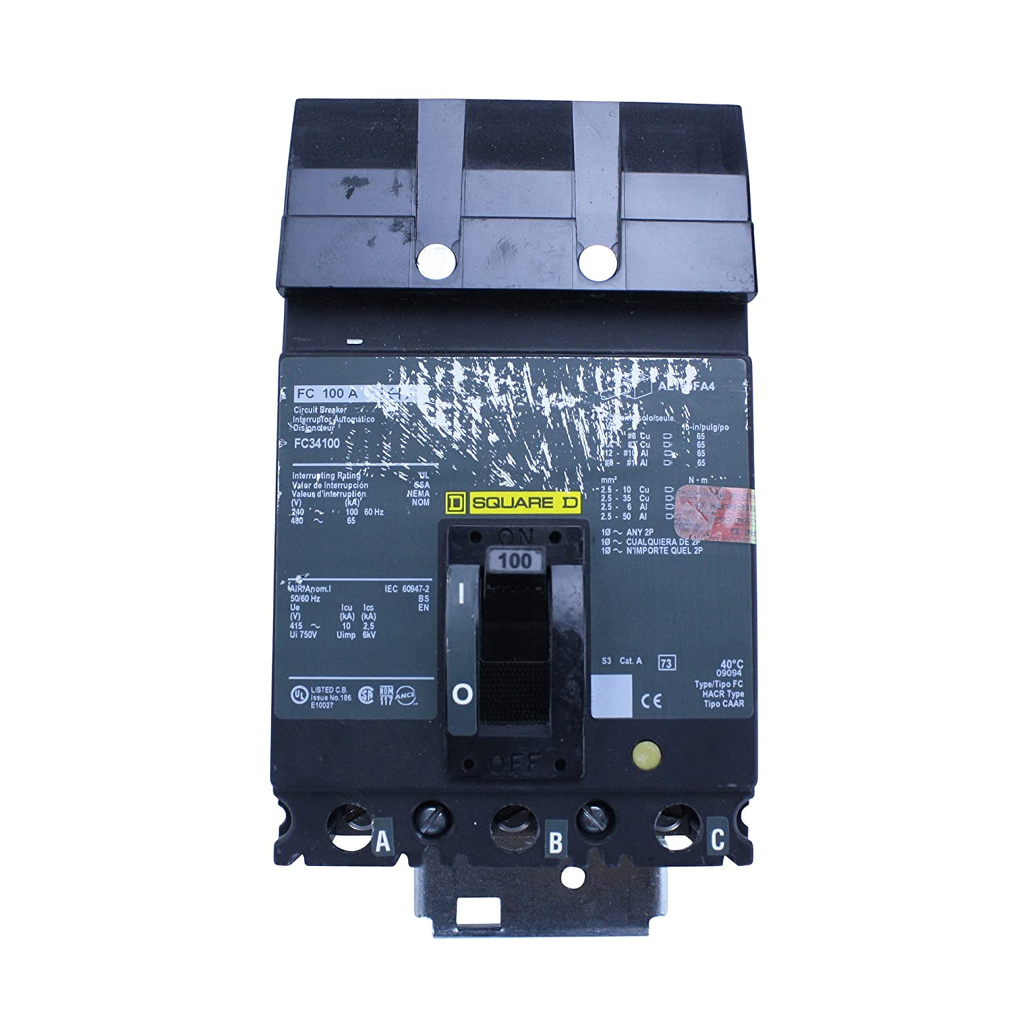 Square D fc34100 tipo FC 3 polos 100 A 480 V thermal-magnetic ...