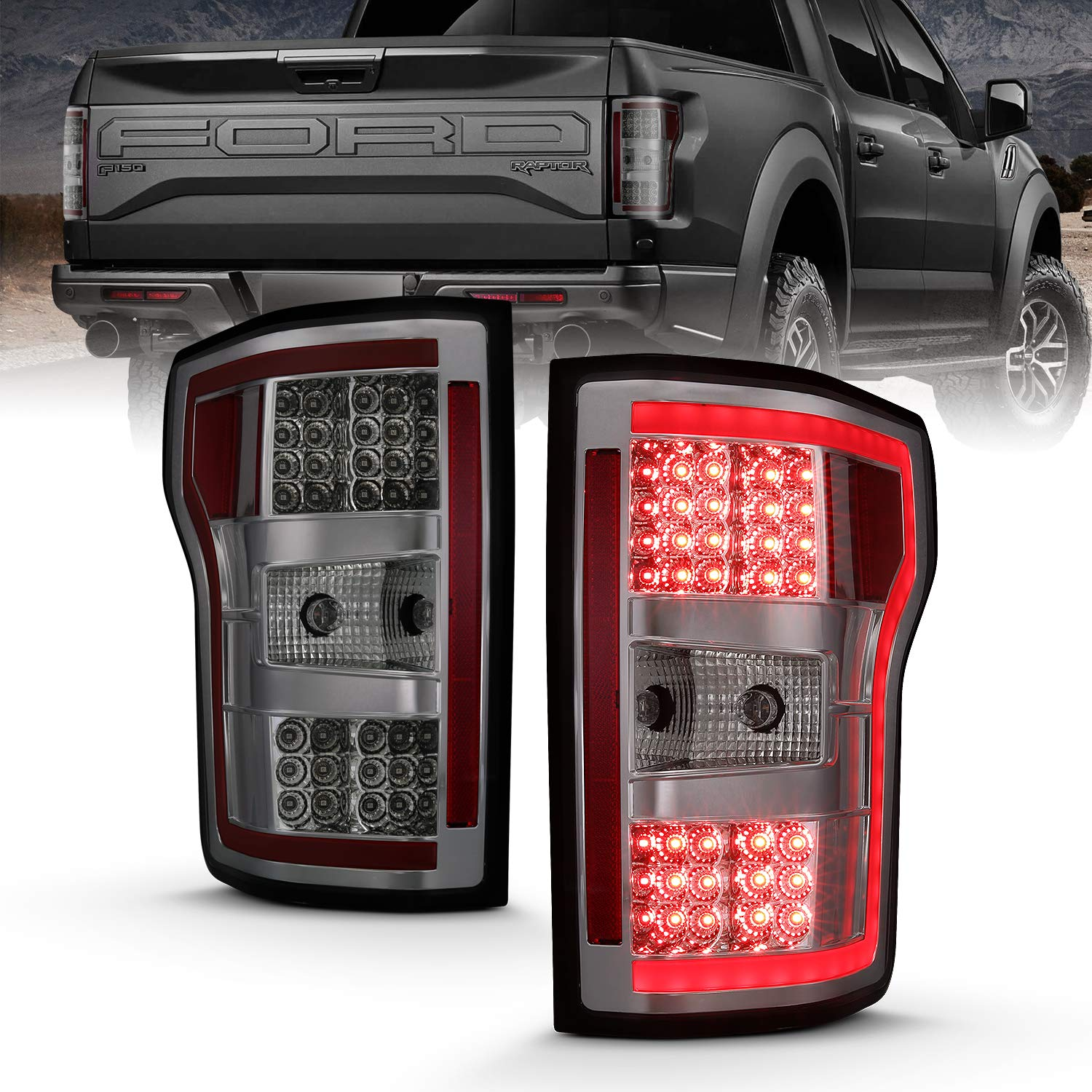 AmeriLite for 2018 2019 2020 Ford F150 Taillights Smoke Lens Assembly with LED Tube Light Bar Set – Driver and Passenger