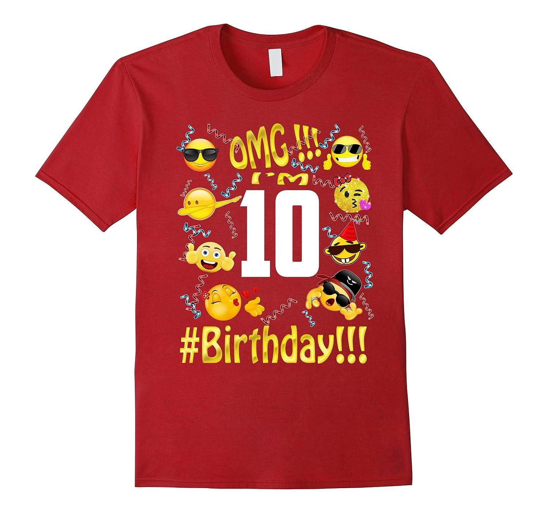 Emoji Birthday Shirt For 10 ten Year Old Girl Boy Party-TH