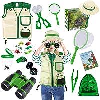 (Green) - TEPSMIGO Kids Explorer Kit & Bug Catcher Kit, 18 Pcs Outdoor Adventure Set with Binoculars, Safari & Vest Hat…