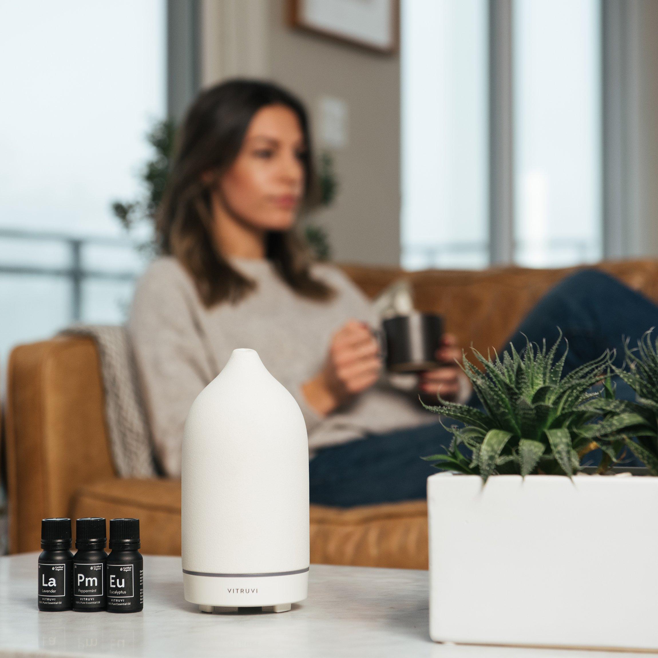 Vitruvi Stone Diffuser, Ceramic Ultrasonic Essential Oil Diffuser for Aromatherapy, White, 90ml Capacity by Vitruvi
