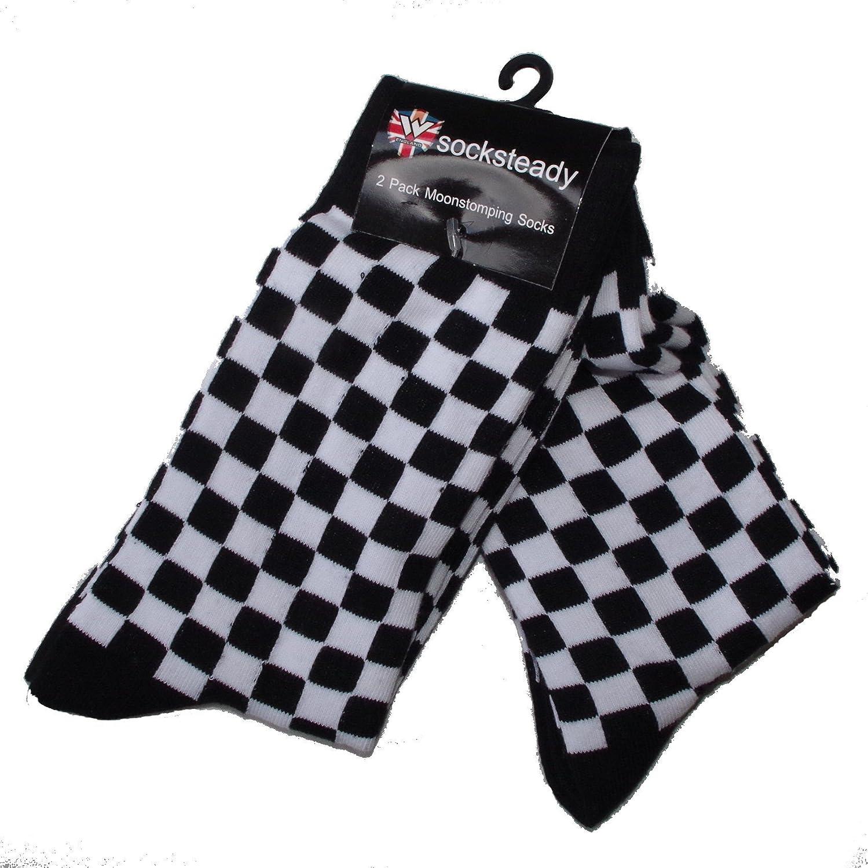 Pack de 2 pares de calcetines de cuadros para hombre de dos tonos