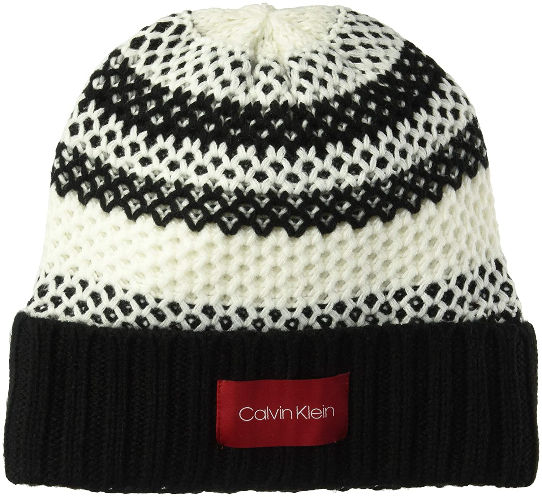 be36b52b0b7 Calvin Klein Women s Waffle Knit Striped HAT