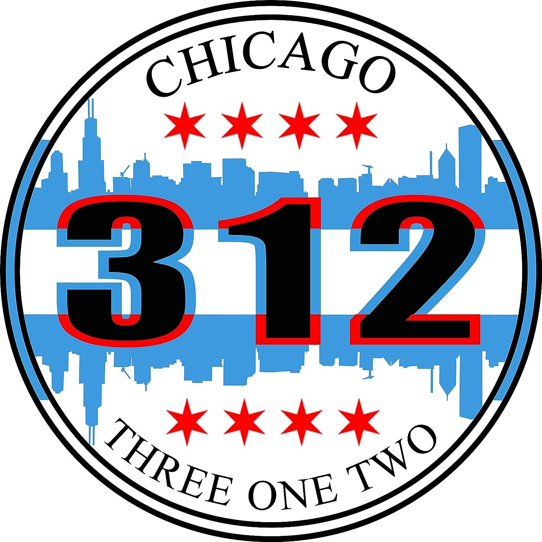 City of Chicago 312 Area Code Bumper Sticker - The CHI Skyline Flag Premium Vinyl Car Decal 3 x 3