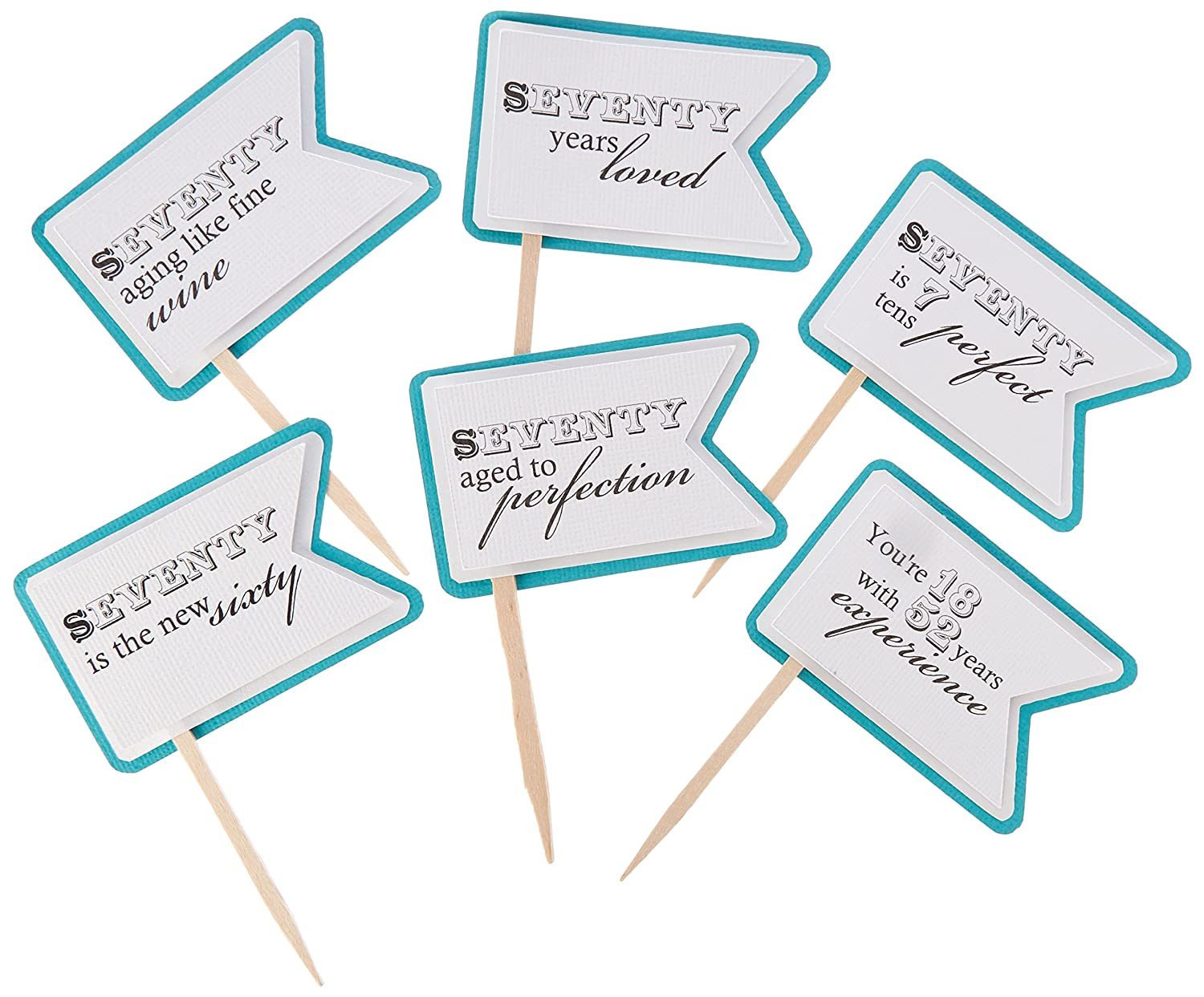 All About Details Teal 70th Birthday Quotes Cupcake Toppers Set Of 12 Amazon In Home Kitchen