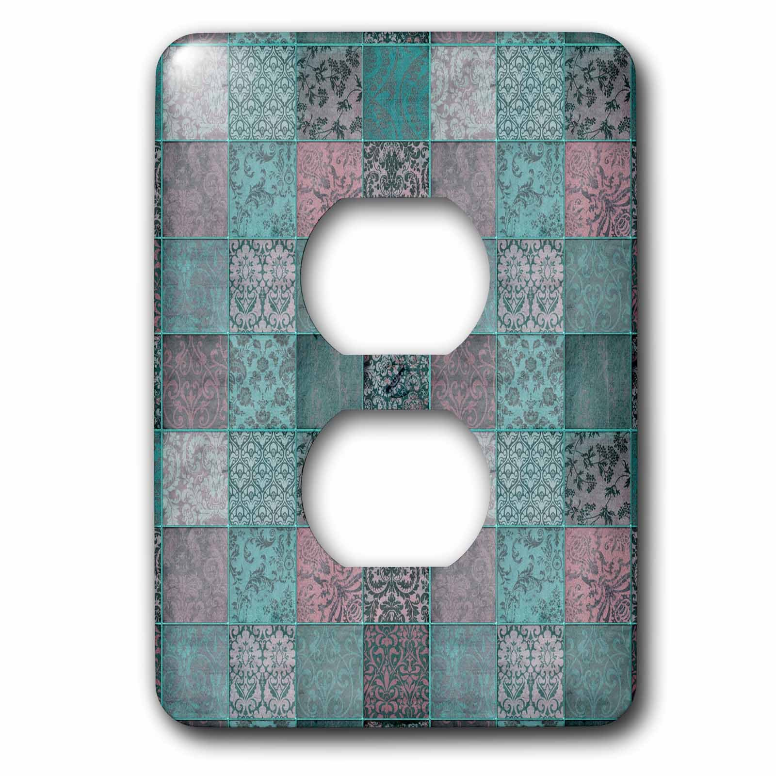 3dRose Andrea Haase Art Illustration - Vintage Patchwork Pattern Distressed Style in Teal Turquoise And Pink - Light Switch Covers - 2 plug outlet cover (lsp_271138_6)