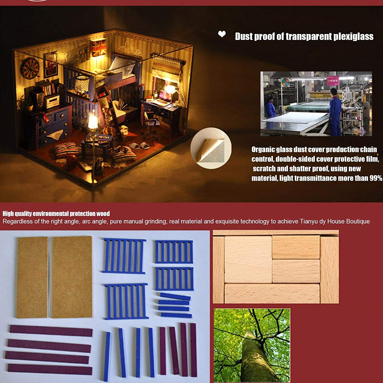 Juguete Modelo de Rompecabezas ensamblado Hecho a Mano Modelo de casa de mu/ñecas en Miniatura Caba/ña de Madera para Bricolaje con Cubierta Antipolvo para Muebles