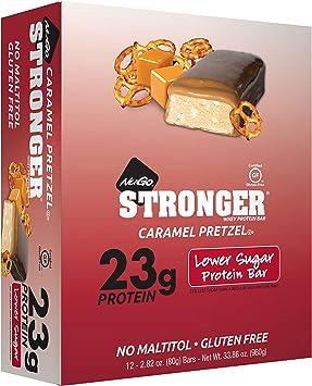 NuGo Nutrition - Una proteína más fuerte barra el pretzel del caramelo de la caja - 12 Bares