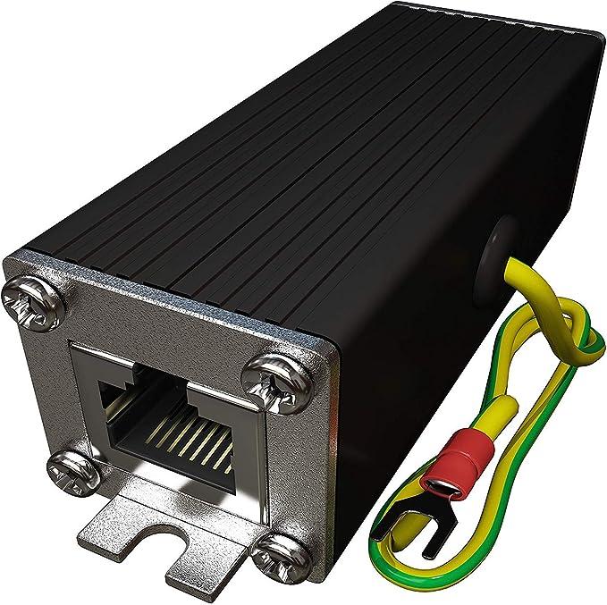 Tupavco Protector Sobretensión Ethernet (PoE+ Gigabit Surge Protector) Protección con Tubo de Descarga de Gas (Pararrayos RJ45 Sobretensiones) ...