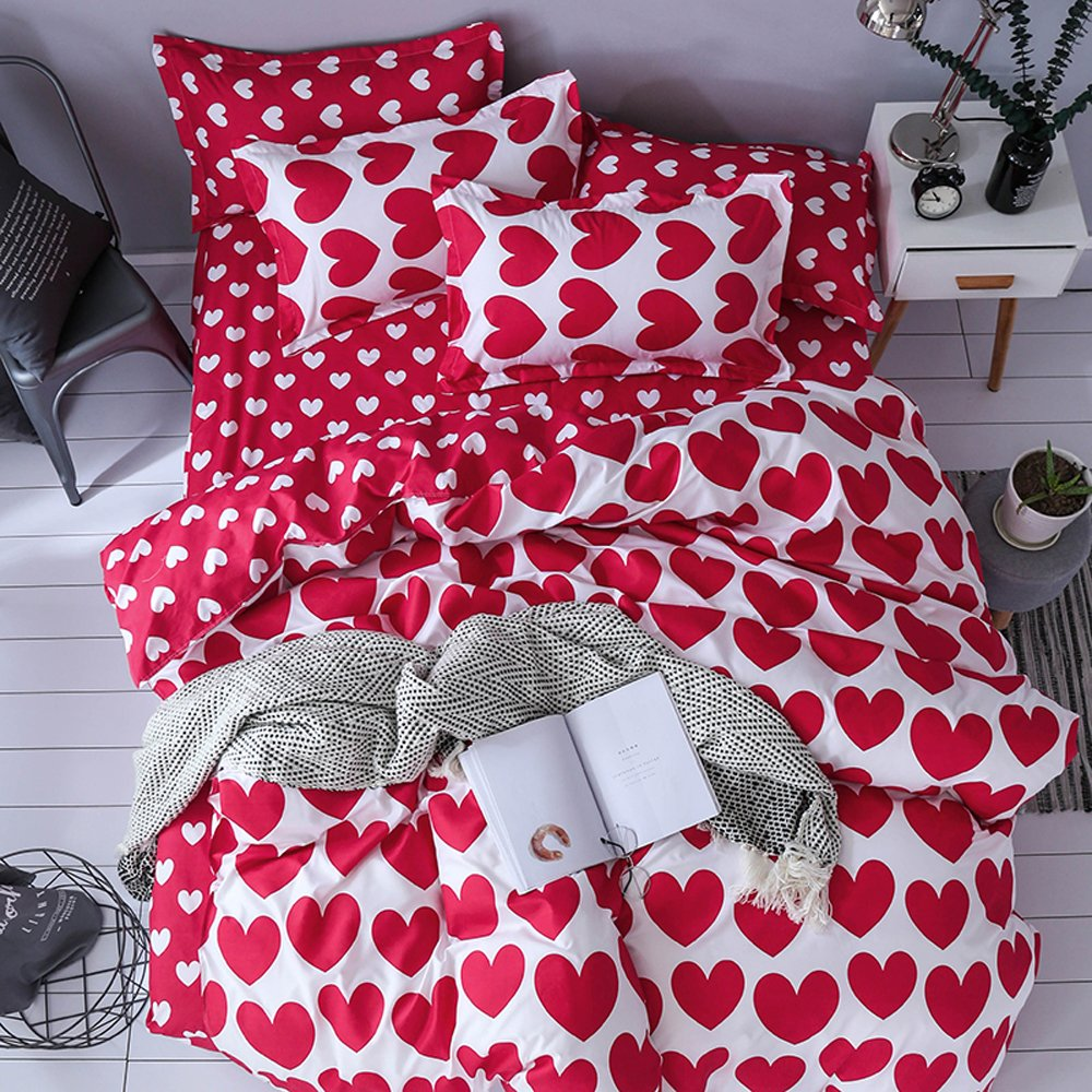Mengersi Girls Heart Bedding Duvet Cover Sets Love Print 3 Pieces Kids Bedding Set With Zipper (King, Red)