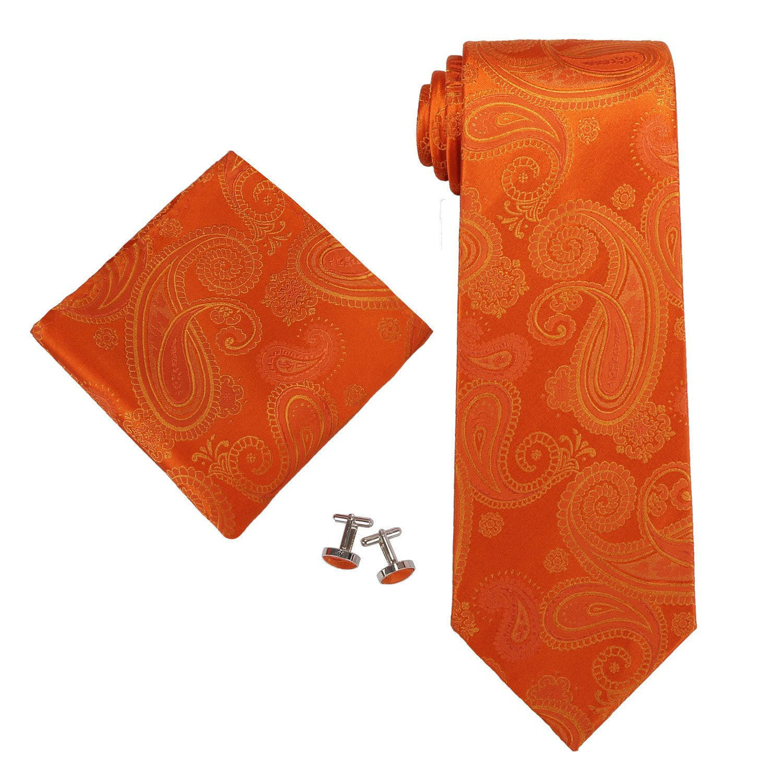 Landisun SILK Paisleys Mens SILK Tie Set: Tie+Hanky+Cufflinks