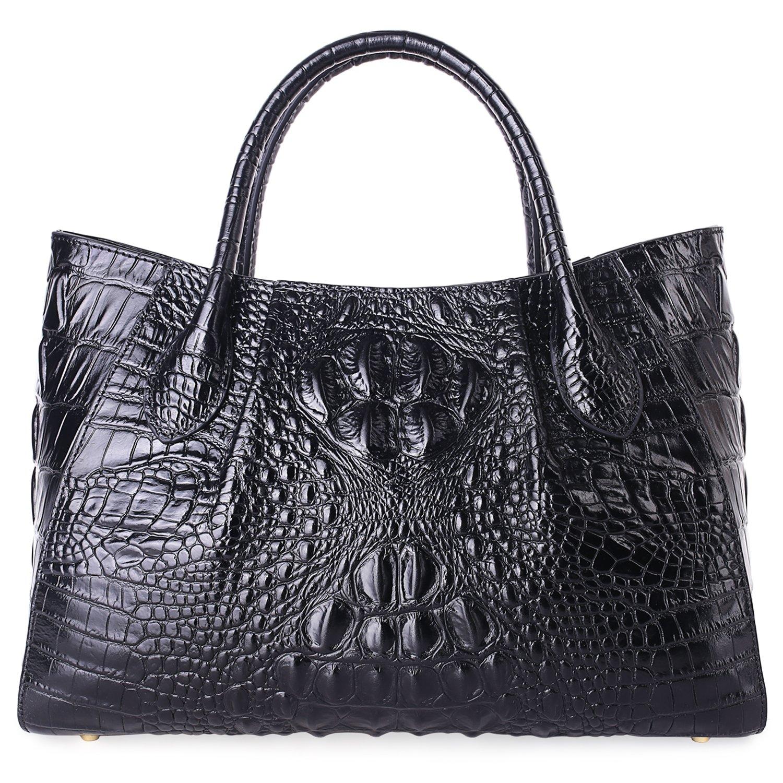 PIFUREN Designer Crocodile Top Handle Handbags Womens Genuine Leather Tote Bags E75002A (Large Size, Black)