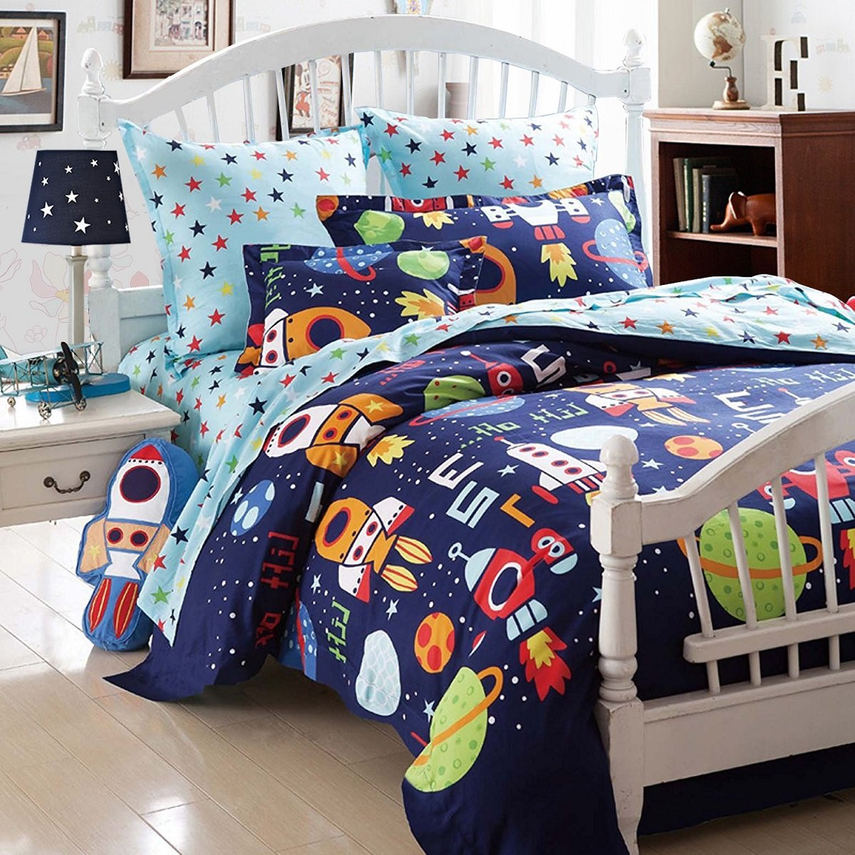 Boys Bedding Sets Space Adventure Bedding Set 100 Cotton Kids Teen Bedding Rockets Hypoallergenic Duvet Cover Set Cal King Size 3Pcs (Sheets Sold Separately) - Brandream