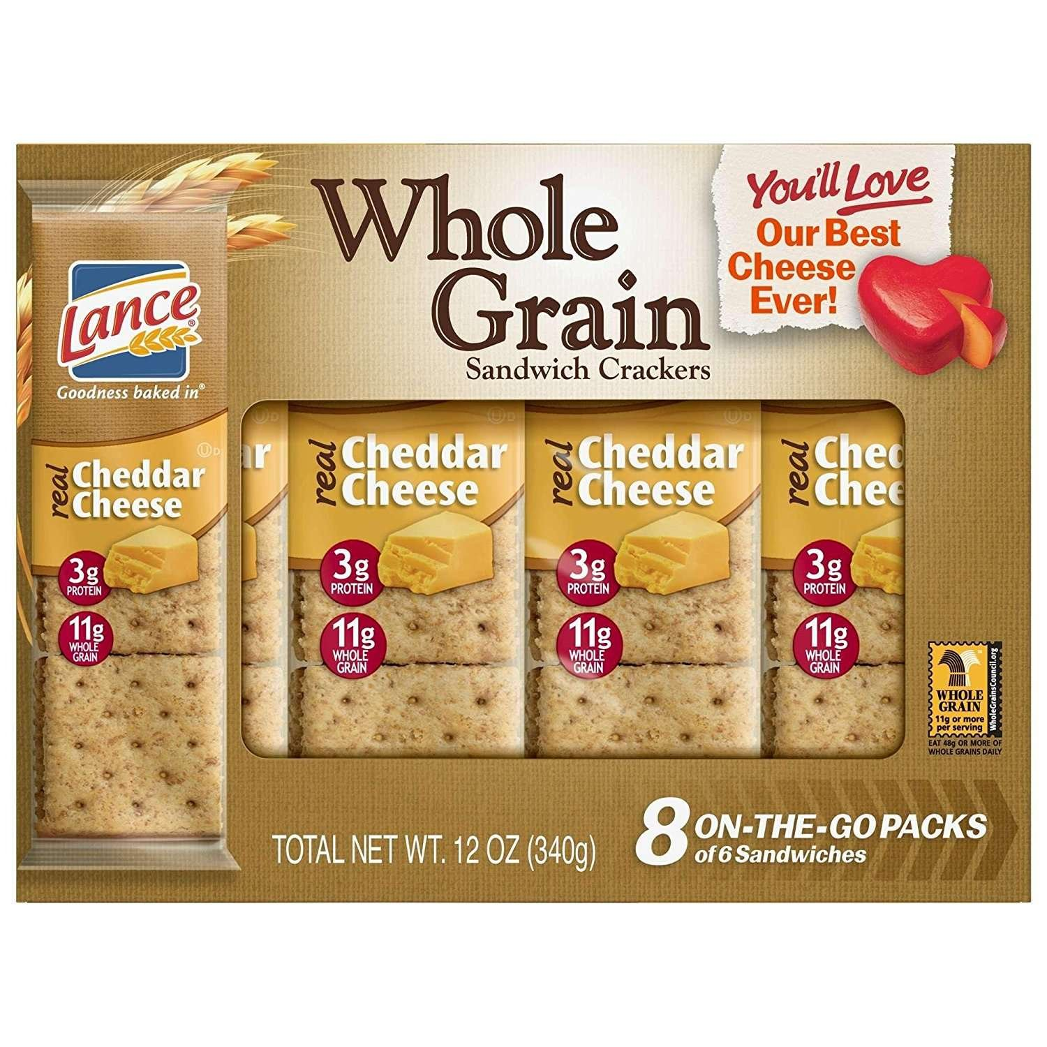 Lance Whole Grain Sandwich Crackers, Cheddar Cheese, 8 Count (Pack of 14) by Lance
