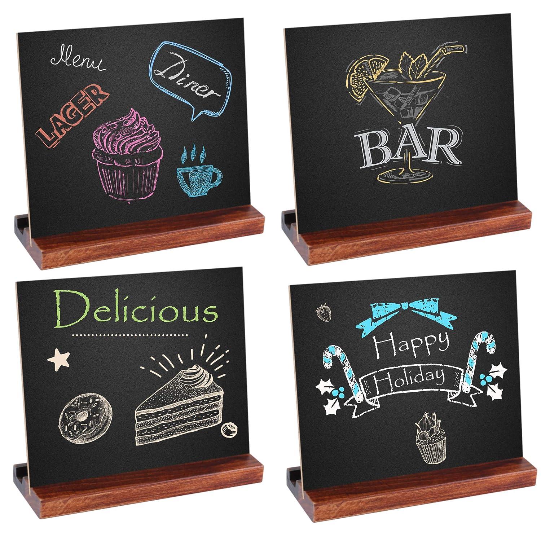 Famistar 4 Pack Vintage Rustic Wood Tabletop Chalkboard, Wedding Table Sign Kitchen Counter Top Memo Board