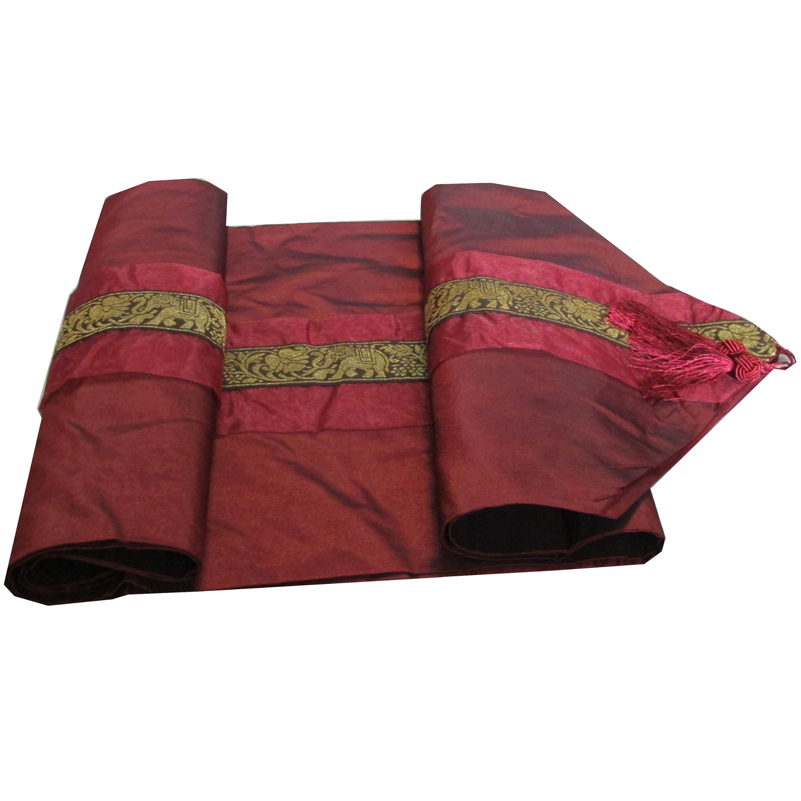 ''HelloJatujak'' BEAUTIFUL & COOL ELEPHANTS!! (TABLE / BED RUNNER) ELEPHANTS ON YOUR BED SIZE WIDTH 14 INCHES LONG 72 INCHES MADE FROM THAI SILK (ELEPHANT MEAN BIG POWER AS THE KING OF THAILAND HAS MANY ELEPHANT) by HelloJatujak