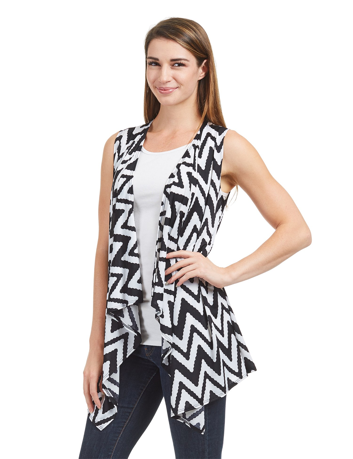 Lock and Love WSK1350 Womens Lightweight Print Draped Sleeveless Cardigan XXXL CHEV_Black by Lock and Love (Image #1)
