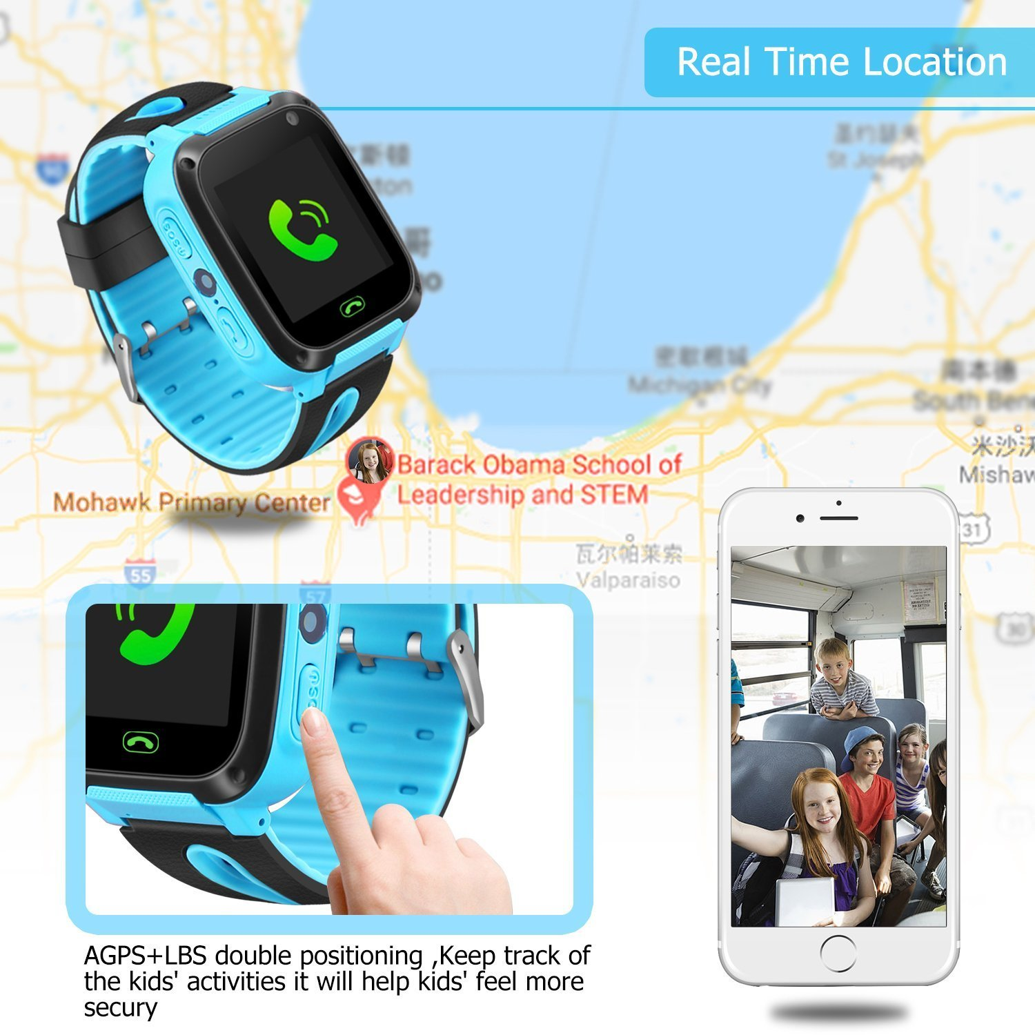 Kids Smart Watch Phone - Kids GPS Tracker Smartwatch for Girls Boys with Mobile Phone SOS Anti-lost Camera Game Touch Screen Children Outdoor Digital Wrist Watch Bracelet for Summer Holiday Gift by Kidaily (Image #5)