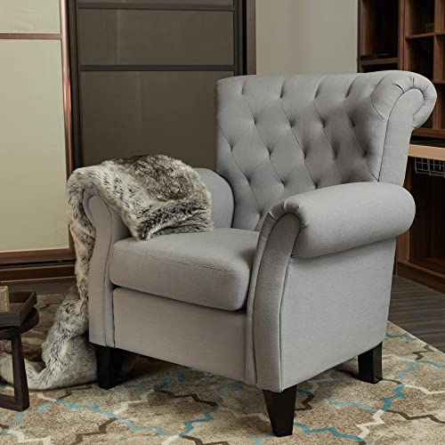 LOKATES HOME Modern Living Room Accent Arm Chair Comfy Single Sofa Club Chair, 37.4 W, Grey