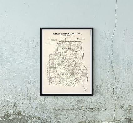 1870 Map Of Texas.Amazon Com New York Map Company 1870 Rains Van Zandt Counties