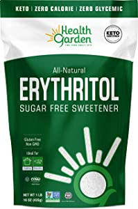 Health Garden Erythritol Sugar Free Sweetener - All Natural - Non GMO - Kosher- Keto Friendly (1 lb)