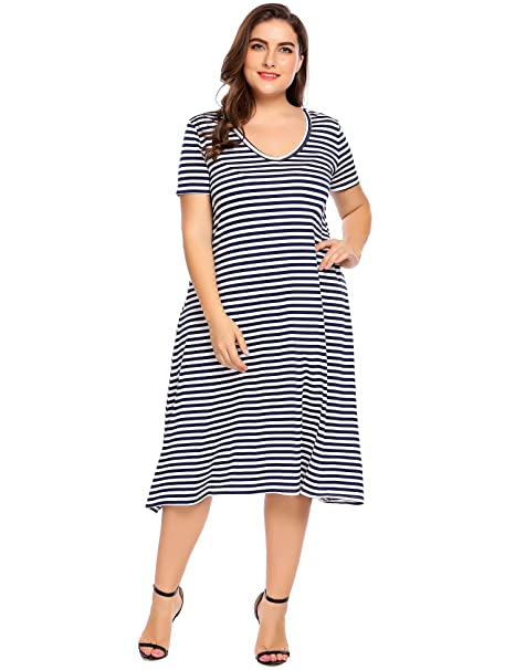 60% cheap biggest discount cheap price Women Plus Sizes Casual V-Neck Short Sleeve Awing Dress Striped A-Line Midi  T-Shirt Dress