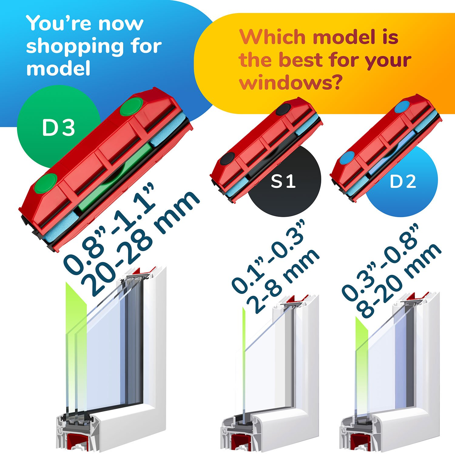 The Glider D-3, Magnetic Window Cleaner for Double Glazed Widows up to 1-1/8'' window thickness by Tyroler Bright Tools (Image #4)