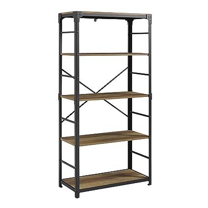 WE Furniture AZS64AIRO Mixed Material Bookshelf 64quot Rustic Oak