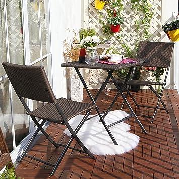 Grand Patio Conjunto de mesa y sillas plegables de mimbre para exterior, resistentes al Sol, ideal para balcón o jardín, de acero inoxidable (1pc Mesa ...