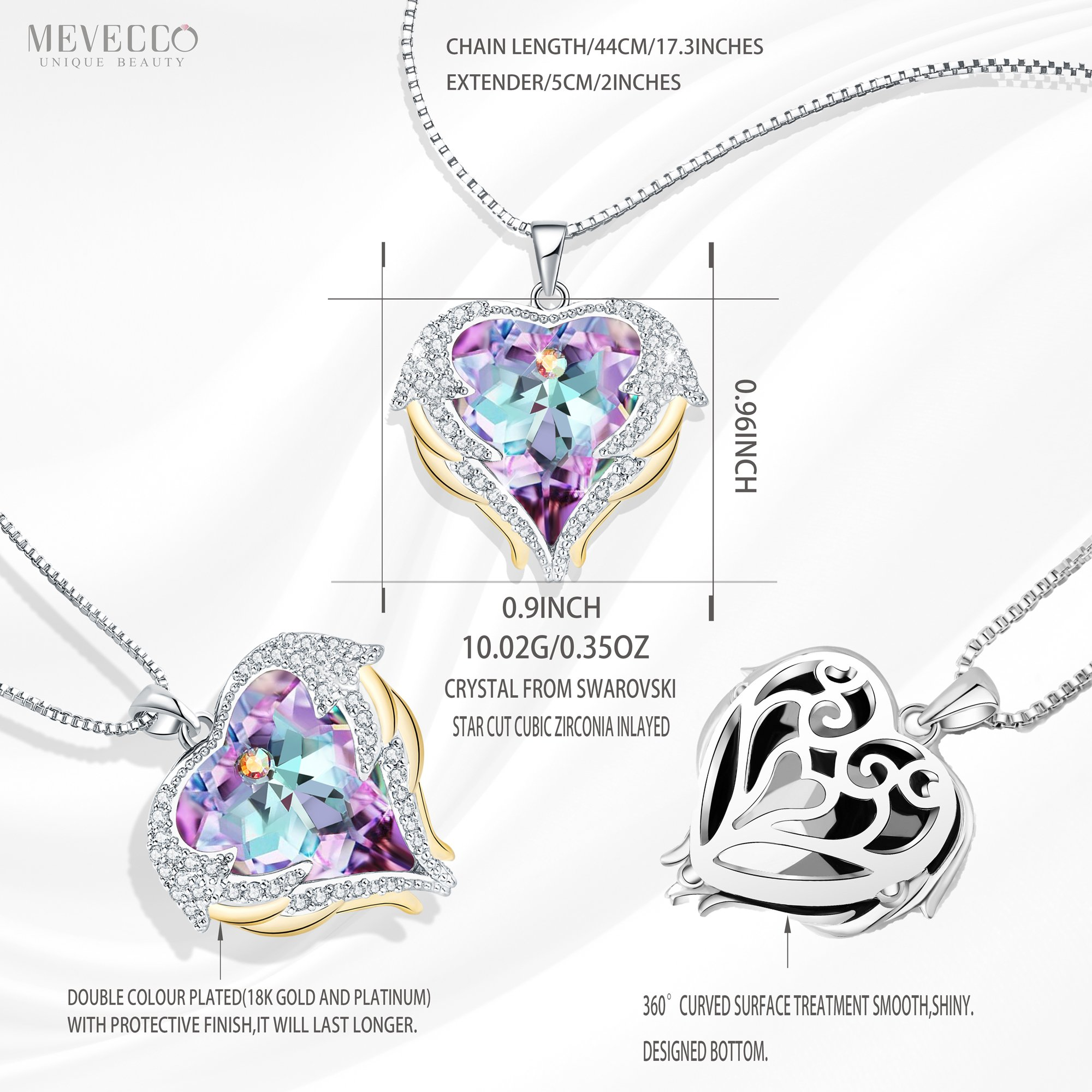 Mevecco ''Heart Of the Ocean'' Heart Pendant Necklace Made with Swarovski Crystals-NK10-Vol Light by Mevecco (Image #2)