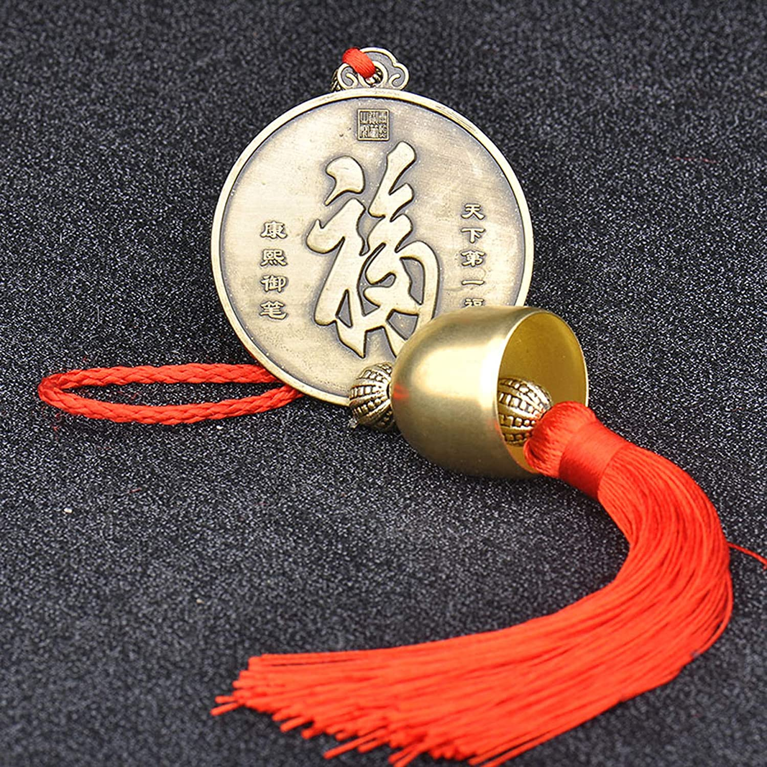 Chinese Feng Shui Coins FU Ornaments Chinese Knot Tassel Lucky Charm Pendants Home Protection Car Decor Pack of 2