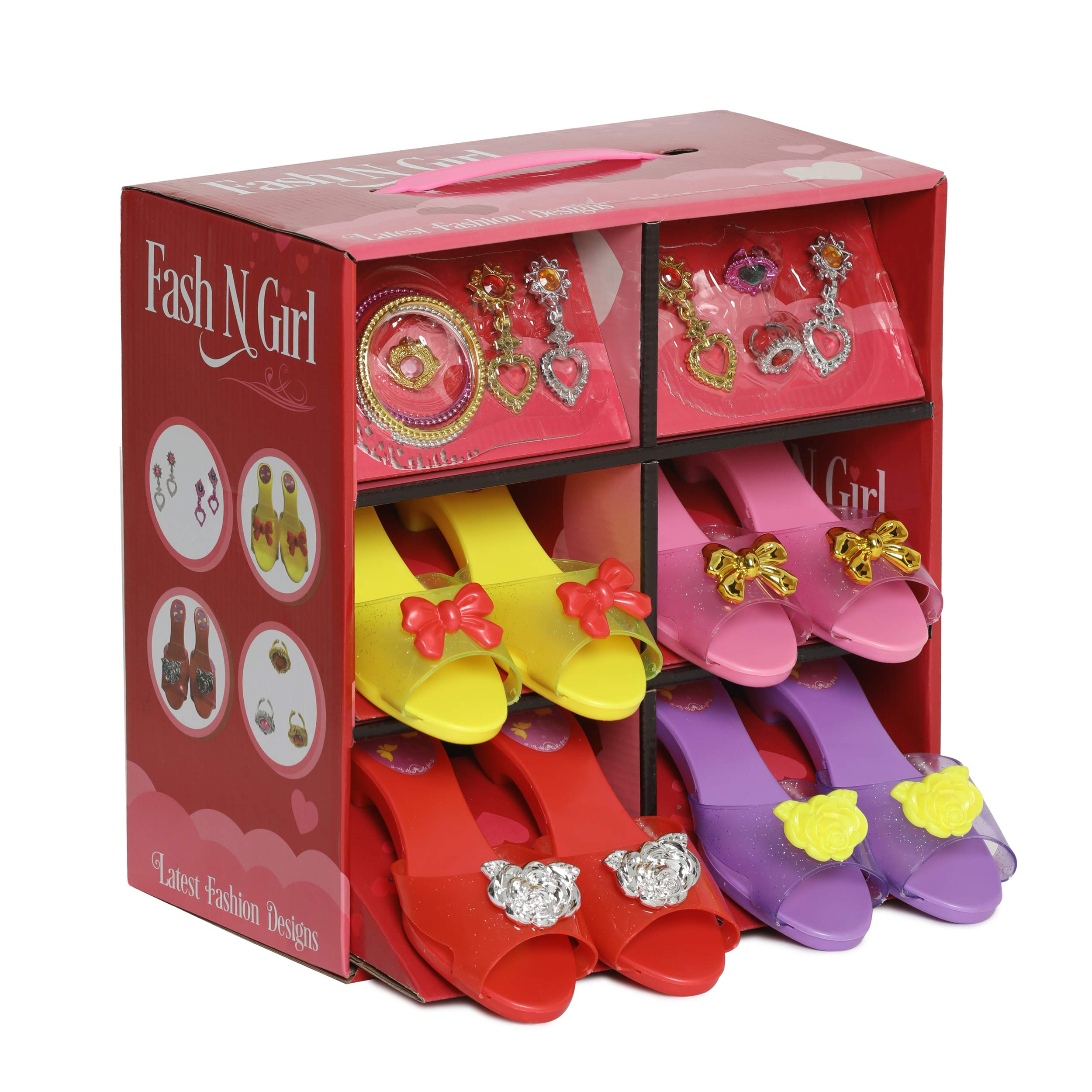 My Princess Dress Up & Play Shoe, Jewelry Boutique Set - 4 Pairs of Girls Shoes, 2 Pairs of Earrings, 3 Bracelets and Rings - Fashion Accessories for Girls Dress Up, Age 3 - 10 yrs Old
