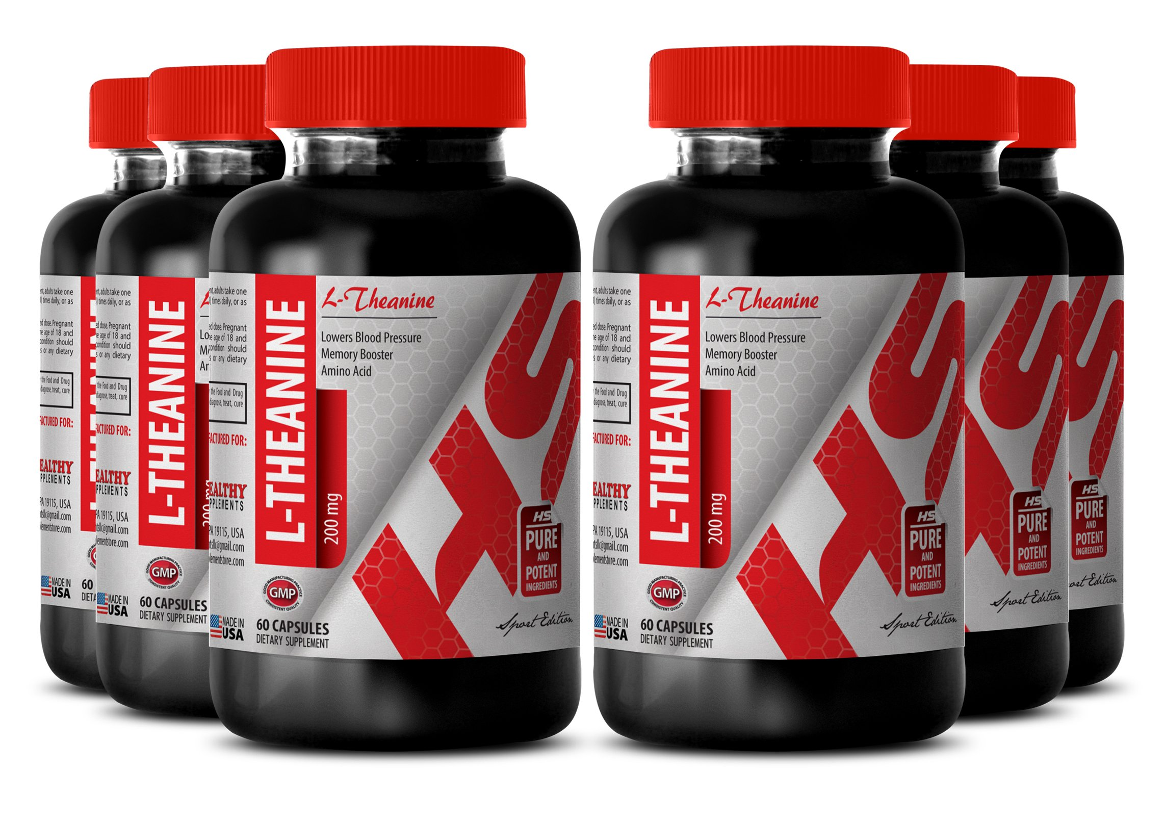 Theanine extract - NATURAL L-THEANINE 200MG - energy booster (6 Bottles)