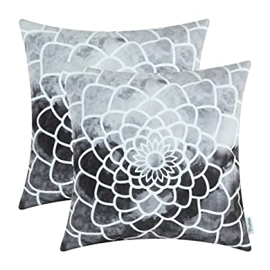 CaliTime Pack of 2 Cozy Fleece Throw Pillow Cases Covers for Couch Bed Sofa, Manual Hand Painted Print Colorful Dahlia Compass, 18 X 18 Inches, Grey
