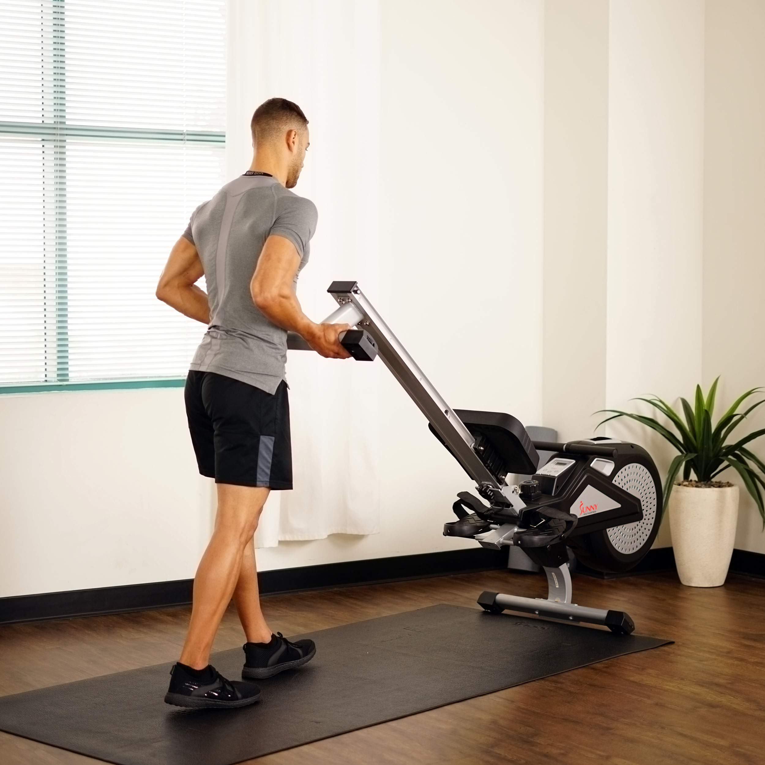 Sunny Health & Fitness Air Rower Rowing Machine w/ LCD Monitor, Dual Belt and Air Resistance SF-RW5623 by Sunny Health & Fitness (Image #17)