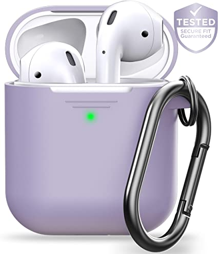 PodSkinz AirPods Case [Front LED Visible] Keychain Protective Silicone Cover Compatible with AirPods 1 & AirPods 2 (Gen 2) (with Carabiner, Lavender) best AirPods case