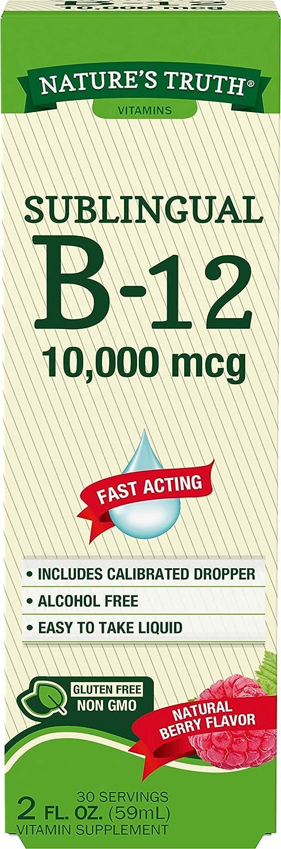 B12 Sublingual Liquid Drops | 10,000 mcg | 2 oz | Fast Acting | Vegetarian, Non-GMO & Gluten Free | by Nature's Truth