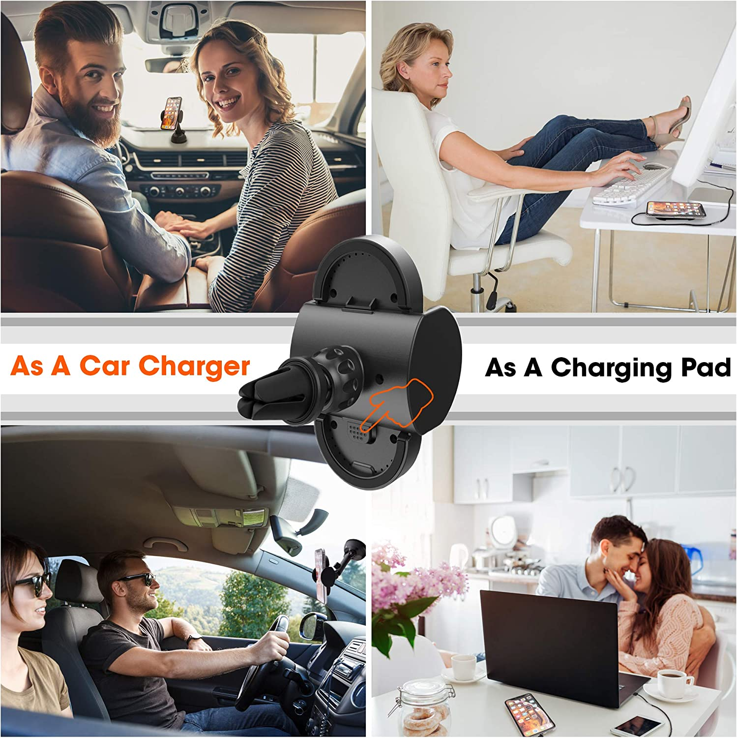 Wireless Car Charger and Phone Mount by SmartyWave -Compatible with Qi iPhone 11 11 Pro 11 Pro Max Xs XR 8 Samsung Smartphones -Vent, Dashboard and Windshield Holder -QC 3 Dual Car Adapter