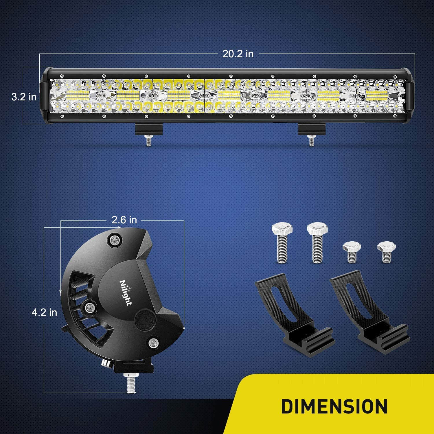 Nilight 18024C-A 420W 20Inch Triple Row Flood Spot Combo 42000LM Bar Driving Boat Led Off Road Lights for Trucks, 2 Years Warranty: Automotive