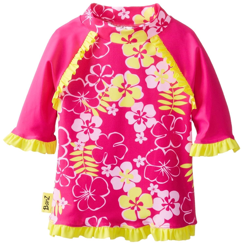 Baby Banz Baby Girls  Long Sleeve UV Rash Top With Tagless Neck