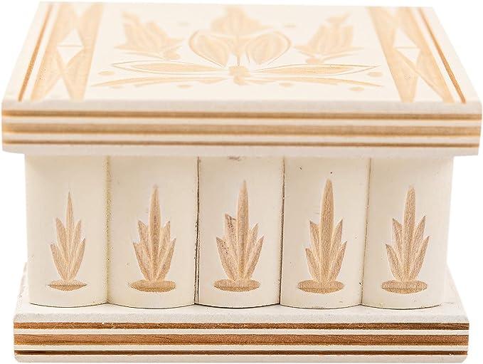 Joyero estilo rompecabezas con llave, de madera, hecha a mano, tallada a mano, Blanco, 7.7 x 6.4 x 4.8 cm: Amazon.es: Hogar